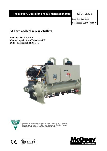 Water Cooled Screw Chillers McQuay