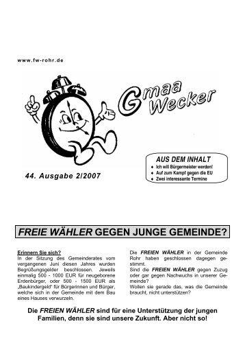 am Sonntag, den 30. September 2007 ab 15.00 Uhr in Rohr an der ...