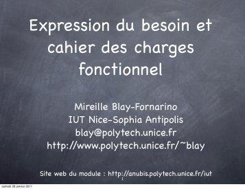 du cahier des charges - Université Nice Sophia Antipolis