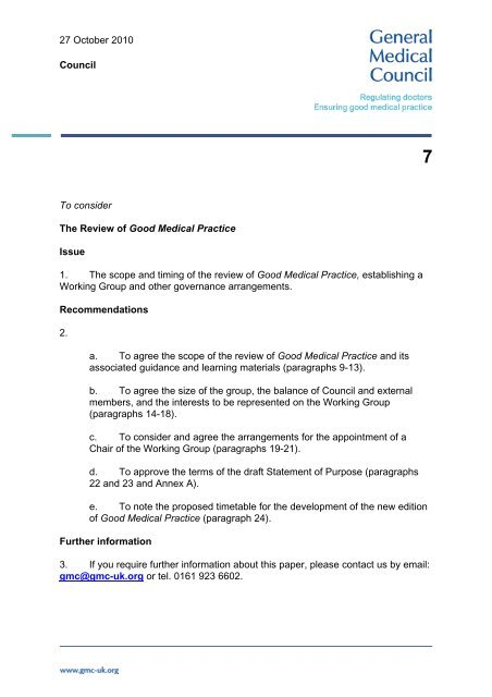 Review Of Good Medical Practice General Medical Council