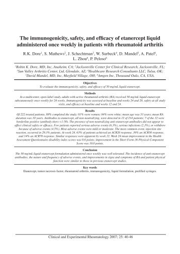 The immunogenicity, safety, and efficacy of etanercept liquid ... - LIF