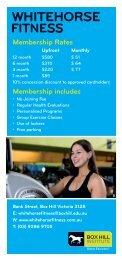 Whitehorse Fitness Brochure - Box Hill Institute of TAFE