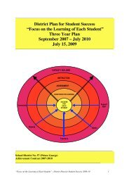Focus on the Learning of Each Student - School District No. 57 ...