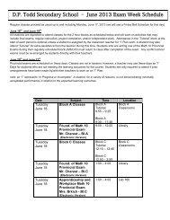 D.P. Todd Secondary School – June 2013 Exam Week Schedule