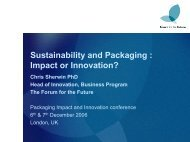Sustainability and Packaging : Impact or Innovation?