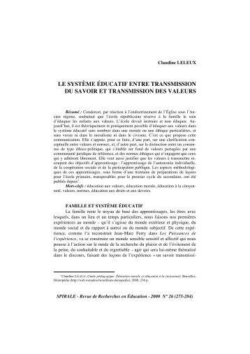 """LELEUX Claudine """"Le système éducatif entre transmission du"""