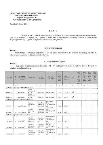 HRVATSKI ZAVOD ZA ZDRAVSTVENO OSIGURANJE-DIREKCIJA ...