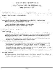 School Readiness Leadership Coop - Region 13