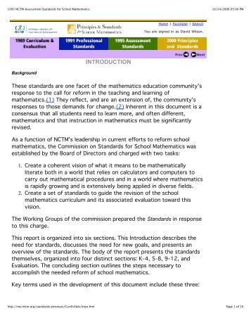 an introduction to the priciples and standards for school mathematics