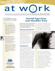 Steroid Injections and Shoulder Pain - Institute for Work & Health