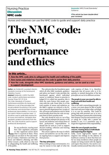nmc code of conduct The nursing and midwifery council (nmc) consulted on changes to the code, which sets out the standards of conduct, performance and ethics for nurses and midwives.