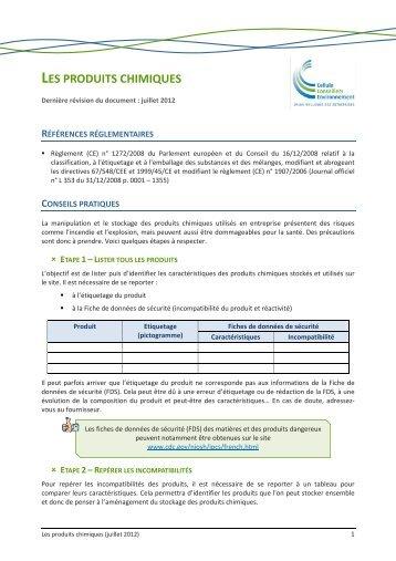 LES PRODUITS CHIMIQUES - Permis d'Environnement