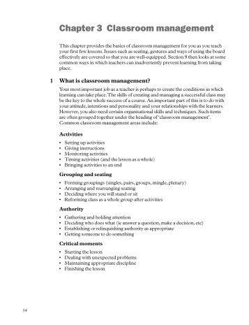 Chapter 3 Classroom management - Macmillan English