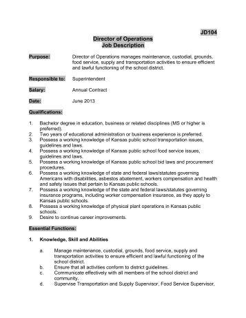 Job Description  Director Of Operations  JohnS Incredible Pizza