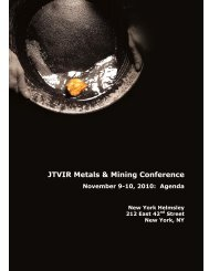 JTVIR Metals & Mining Conference - John Tumazos Very ...