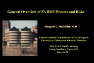 General Overview of FA BMT Process and Risks - Fanconi Anemia ...