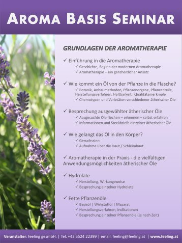 aroma basis seminar grundlagen der aromatherapie - Feeling
