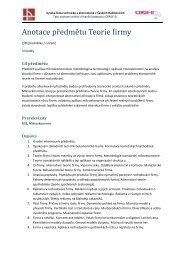Anotace předmětu - Vysoká škola technická a ekonomická v ...