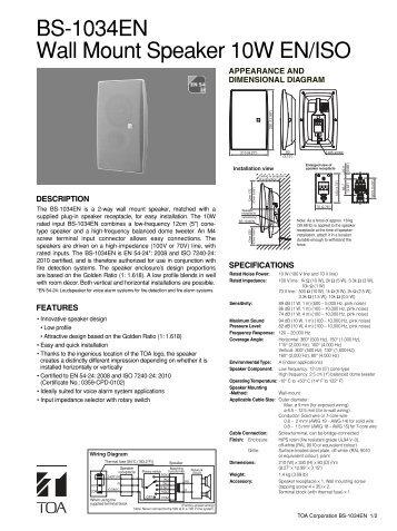 BS-1034EN Wall Mount Speaker 10W EN/ISO - Eltek