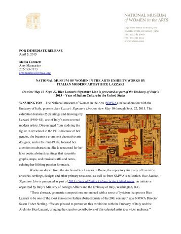 Exhibition Press Release - National Museum of Women in the Arts