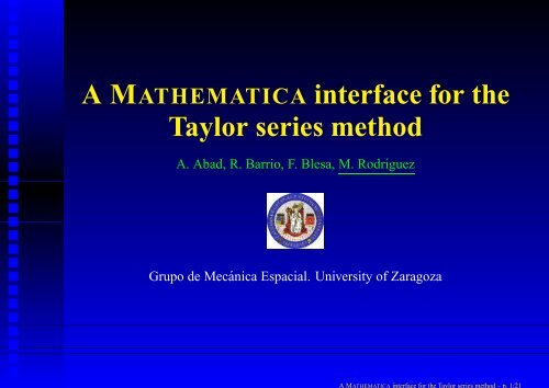 A MATHEMATICA interface for the Taylor series method