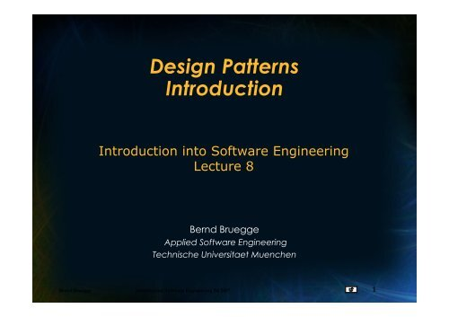Design Patterns Introduction Chair For Applied Software Engineering