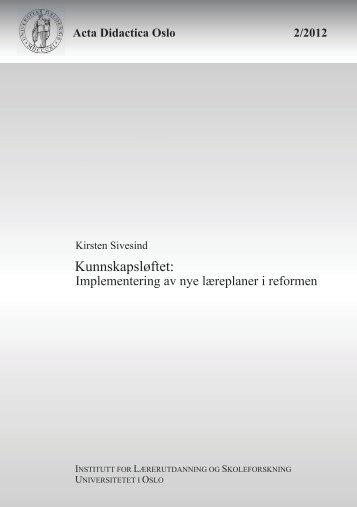 Kunnskapsløftet: - Det utdanningsvitenskapelige fakultet ...
