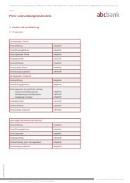 Preis- und Leistungsverzeichnis - abcbank