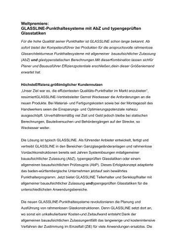 Weltpremiere: GLASSLINE-Punkthaltesysteme mit AbZ und ...