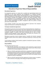 Educational Supervisor Roles & Responsibilities - Oxford Deanery