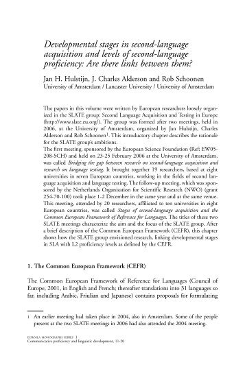 Developmental stages in second-language acquisition and levels of ...