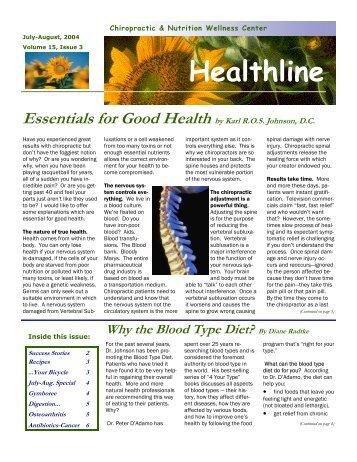 Volume 15, Number 3 - Chiropractic & Nutrition Wellness Center