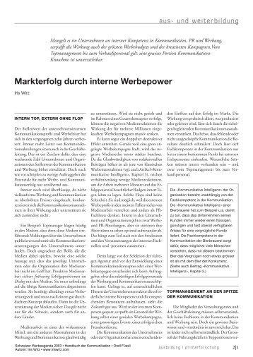 Markterfolg durch interne Werbepower - Iris Wirz c&p communications