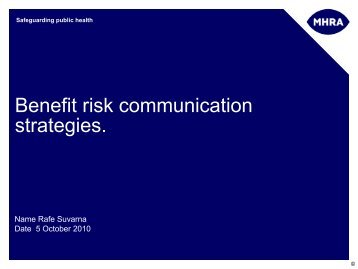 Benefit-Risk communication strategies - Rafe Suvarna - TOPRA