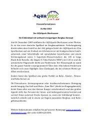 Presseinformationen 31.Mai 2013 Der AQUApark Oberhausen- Ein ...