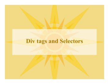 Div tags and Selectors