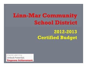 2012-2013 Certified Budget - Linn-Mar Community School District