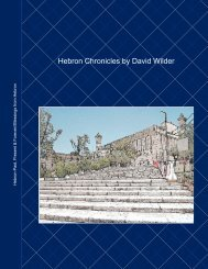 Hebron Chronicles by David Wilder - Hebron Community