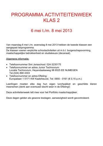 programma activiteitenweek klas 2 - St. Jorisschool Nijmegen
