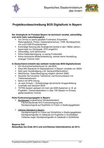 Projektkurzbeschreibung BOS Digitalfunk in Bayern