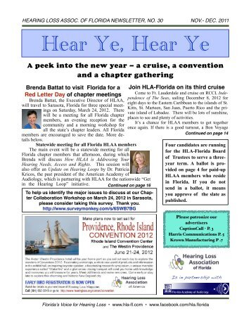 November Newsletter - Hearing Loss Association of Florida