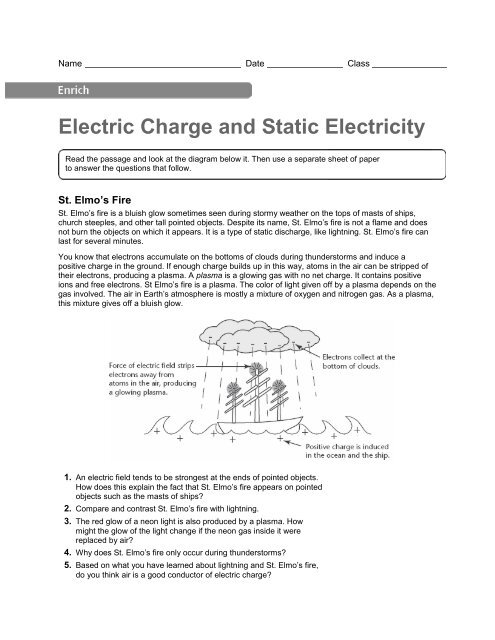 Electric Charge and Static Electricity Enrich Activity pdf