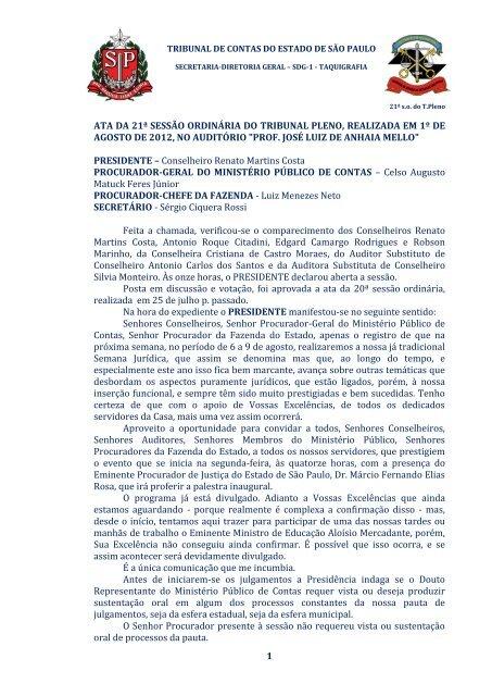 1 ata da 21ª sessão ordinária do tribunal pleno, realizada em 1º de ...