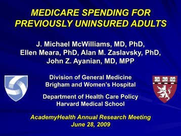 medicare spending for previously uninsured adults - AcademyHealth