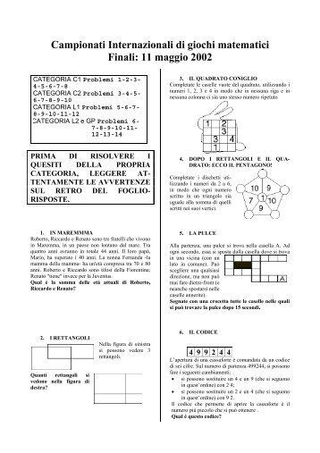 Campionati Internazionali Di Giochi Matematici Semifinale Di Terni