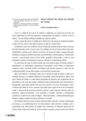 REGULAMENTO DO MUSEU DA CIDADE DE AVEIRO - Câmara ...