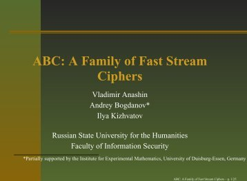 ABC: A Family of Fast Stream Ciphers - ABC stream cipher