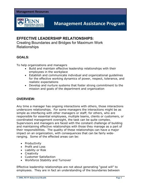 Effective Leadership Building - PENN Behavioral Health Corporate ...