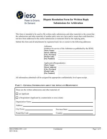 Dispute Resolution Form for Written Reply Submissions For Arbitration
