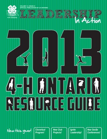 2013 Resource Guide - 4-H Ontario